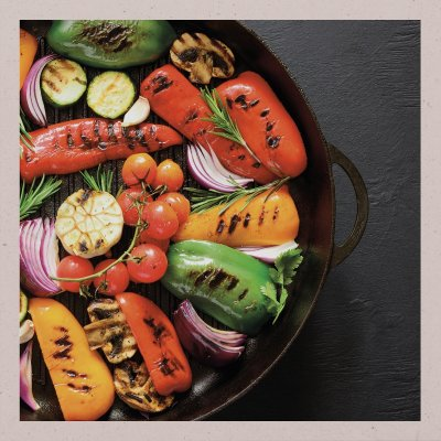 Grilled vegetables in a wok