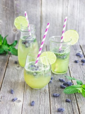 Mint, lime & vanilla cocktail with haskap (honeyberry) ice cubes