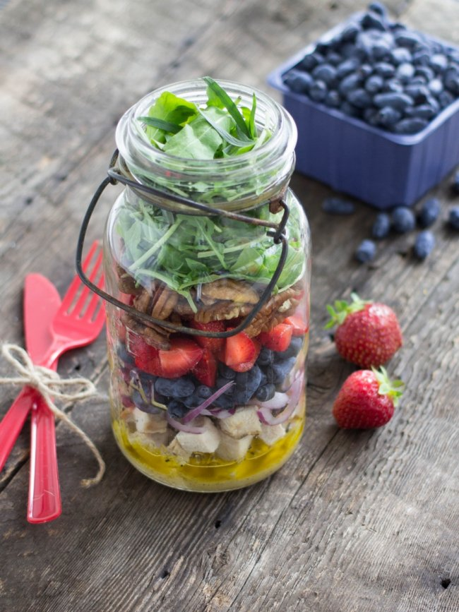 Chicken, haskap (honeyberry) and lemon salad in a jar